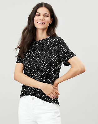 Joules Womens Lizzie Short Sleeve Jersey Top - Black Spot • 10.95£