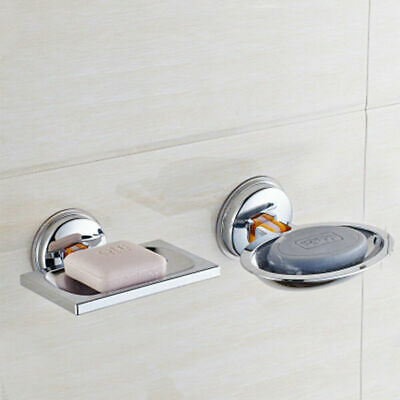 Strong Suction Soap Dish Holder ABS Drain Tray Bathroom Shower Chrome Accessory • 5.99£