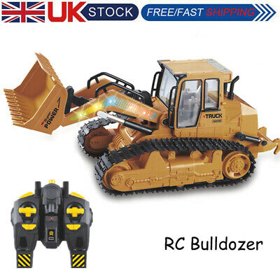 RC Bulldozer Kids Excavator Construction Digger Vehicle Truck Remote Control Toy • 29.99£