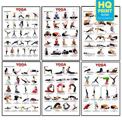 £2.99 • Buy Yoga Gym Fitness Exercise Poster Training Stretching Poses Chart Print A3 A2 A1