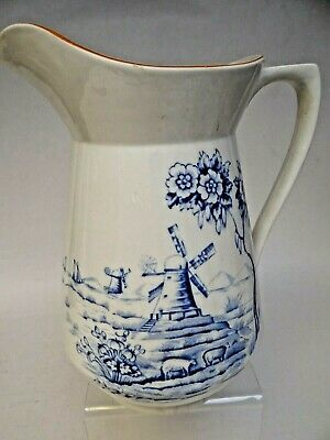 Vintage Alfred Meakin Smugglers Mill Large Blue And White Pitcher/Jug • 9.99£