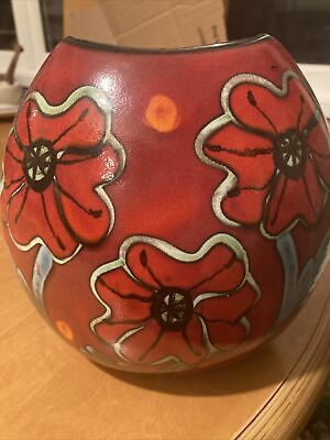 """Poole Pottery Purse Vase Standing 8"""" In Height """"poppy"""" Vase Is Signed • 65£"""