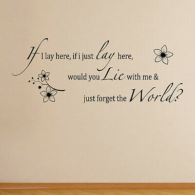 If I Lay Here - Flowers Chasing Cars Song Lyrics Snow Patrol Wall Sticker Decal • 20.95£
