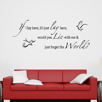 If I Lay Here - Doves Chasing Cars Song Lyrics Snow Patrol Wall Sticker Decal • 16.95£