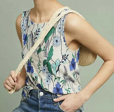 $ CDN22.57 • Buy XS Womans Meadow Rue Anthropologie Cartagela Embroidered Floral Tank Top Blouse