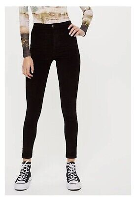 Topshop Joni High Waisted Skinny Black Cord Jeans Size 10 W28 L30 • 11.20£