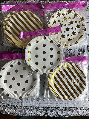 £2.99 • Buy Pack Of 10 Small Designer Round Party,wedding  &Christmas Stunning Paper Plates