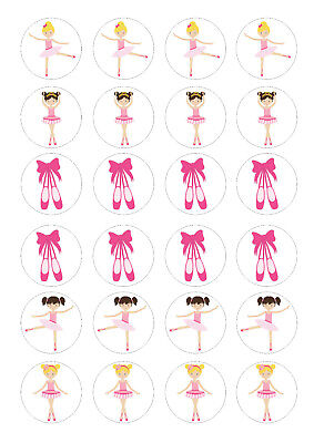 24 Edible Ballet Dancers Iced Icing Fondant 4cm Cupcake Toppers Cake • 4£