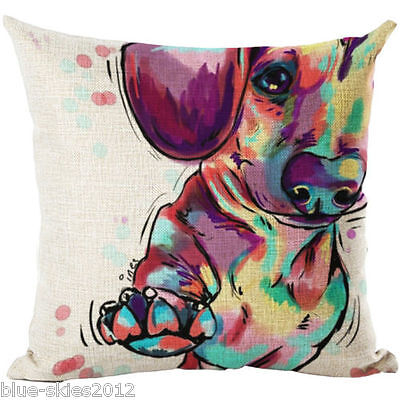 DACHSHUND Sausage Paw Up DOG LINEN COTTON Bright Painting Print CUSHION COVER UK • 4.99£