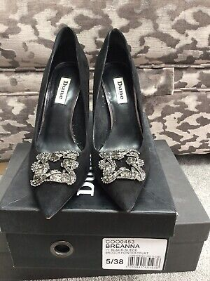DUNNES Black Suede Court Shoes With Diamond Style Brooch High Heels UK Size 5 • 19£