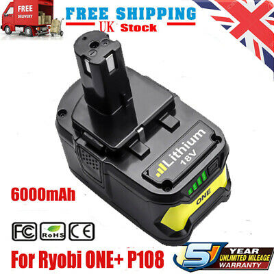 18 Volt 6000mAh Battery Replacement For Ryobi ONE+ P107 P108 P109 P102 P103 P104 • 24.99£