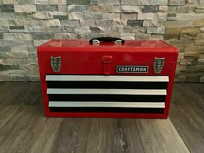 View Details CRAFTSMAN Portable Tool Box 20.5-in Ball-bearing 3-Drawer Red Steel And Lockable • 54.99$