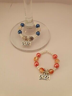 2021 NEW YEARS EVE Table Decoration Wine Glass Charms X 2 Champagne Gin Party • 1.50£