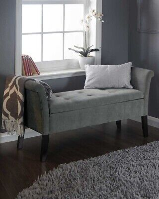 Fabric Upholstered Storage Bench Bed End Window Seat Bedroom Living Room Grey • 139.99£