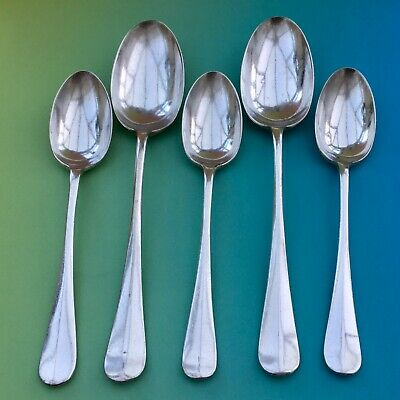 MAPPIN WEBB SPOONS X5 RAT TAIL HANOVERIAN ANTIQUE SILVER PLATE CUTLERY SHEFFIELD • 18£