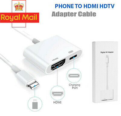 Phone To HDMI Digital TV AV Adapter Cable For Apple IPad IPhone 5 6 7 8 X XS • 8.75£