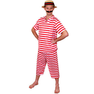 Mens Victorian Bather Costume For 1920S Fancy Dress, Mens Victorian Bathing Cost • 17.98£