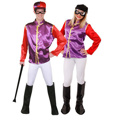 Purple And Red Jockey Costume Horse Rider Uniform Racing Outfit Fancy Dress  • 20.77£