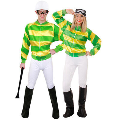 Green And Yellow Jockey Costume Horse Rider Uniform Racing Outfit Fancy Dress  • 20.77£