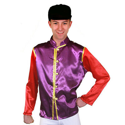 Purple And Red Jockey Top And Hat Horse Rider Uniform Racing Outfit Fancy Dress  • 15.77£