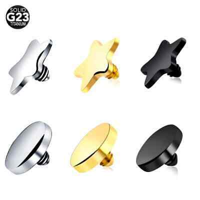 £2.49 • Buy G23 Titanium Micro Dermal Anchor Top 4mm Star Round Skin Diver Implants TOP ONLY