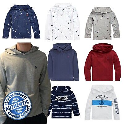 Ralph Lauren Polo Boys Long Sleeved Hooded T Shirt 2 - 16 Genuine Factory Outlet • 12.99£