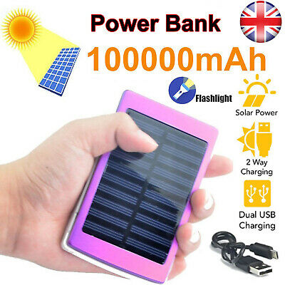 100000mAh Solar Power Bank Panel 2 USB Portable Pack Charger For IPhone Samsung • 11.49£