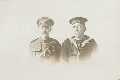WW1 Era Soldier In Uniform And HMS Welland Sailor Vintage Postcard  • 3£