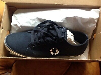 Fred Perry Baseline Twill Size Uk8 Navy Shoe • 25£