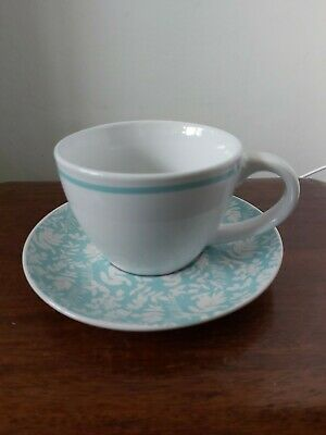Lovely Green And White Cup And Saucer Tea Light Holder And Tea Light. • 3.99£