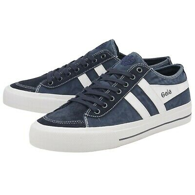 Gola Classics Quota II Unisex Washed Canvas Trainers Navy/White Suede Toe SIZE 7 • 32£
