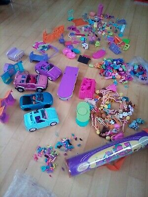 Polly Pocket Bundle - Dolls, Clothes, Shoes, Cars, Furniture And Magnetic Mat • 10.50£