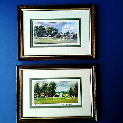 Terry Harrison 27cm By 19cm Framed Cricket Prints X2 - Farnham & Hartley Wintney • 10£