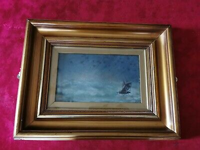 Original Antique Oil Painting Signed Gold Gilt Framed Picture. Ship On High Seas • 55.95£