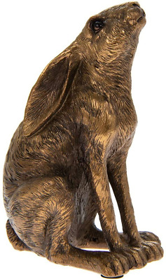 Leonardo Lesser And Pavey Moongazing Hare Sculpture Ornament In Bronze Resin • 8.75£