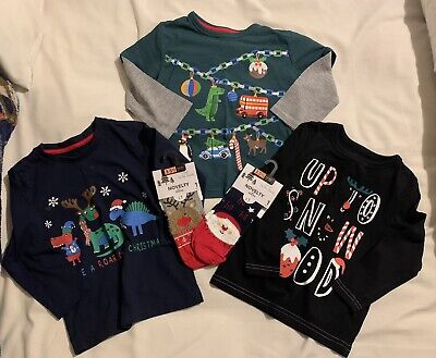 Boys Christmas Clothes Bundle 18-24 Months, Blue Zoo. Tops And Socks • 4.99£