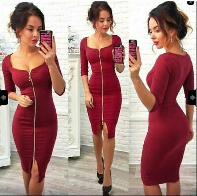 Uk Women's Ladies Sexy V Neck Bodycon Zipper Dress Party Cocktail Evening Prom • 9.99£