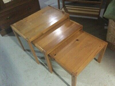 Vintage Solid Pine Nest Of Tables  Upcycling • 25£