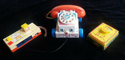 Selection Of Three Vintage Fisher Price Toys Telephone Camera & Radio From 1970s • 4.99£