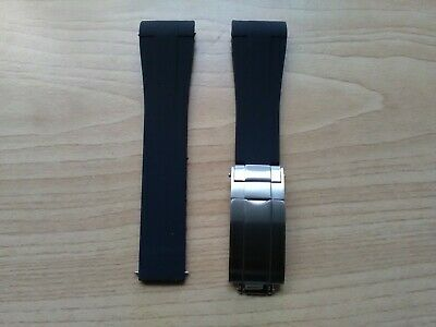 20mm Replacement Curved End Black Rubber Watch Strap & Stainless Clasp For Rolex • 26.50£