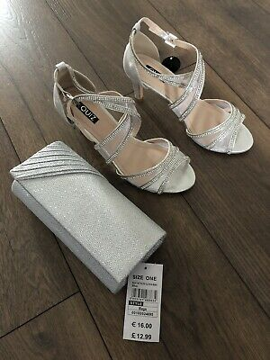Womans Quiz Sliver Sparkly Diamond Heels Shoes With Matching Bag Size 4 37 BNWT • 20£