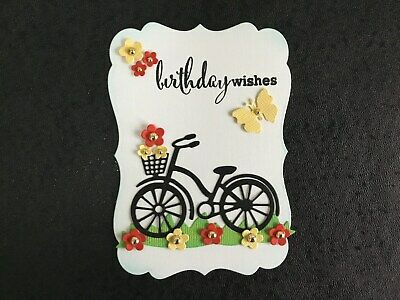 Luxury Birthday Wishes Floral Bike Card Topper (W4) • 1.75£