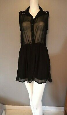 Hearts And Bows Sheer Black Dress With Studs On Collar..size 14.. • 3.99£