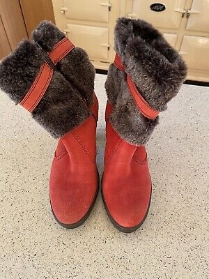 Ladies Orange With Brown Fur Ankle Boots From PAVERS UK 7 EU 40 VGC • 7.50£