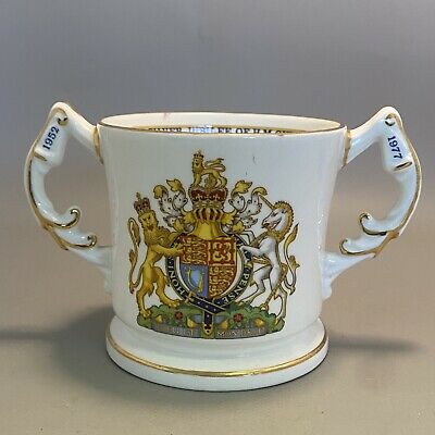 1970s Aynsley Porcelain Twin Handled Mug / Loving Cup - Silver Jubilee, 1977 • 7£