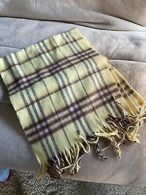 $59.99 • Buy Burberry Vintage Cashmere Yellow Check Scarf