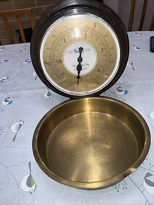 1970s Vintage Salter Kitchen Weighing Scales With Brass Pan Wall Hung & Fold Up • 24.49£