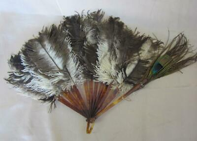 £41 • Buy 1940s VINTAGE LADIES CELLULOID FOLDING HAND FAN W/OSTRICH & PEACOCK FEATHERS