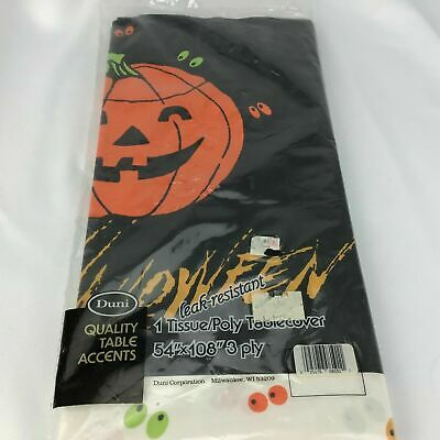 $ CDN16.86 • Buy VTG NOS Paper Halloween Tablecloth Black Pumpkin UNOPENED DUNI