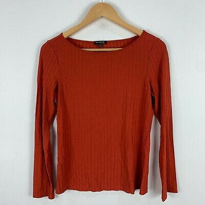 AU21.95 • Buy Massimo Dutti Womens Top Small Brown Rust Long Sleeve Boat Neck Stretch